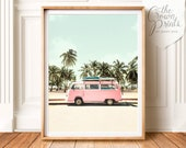VW Bus art, PRINTABLE Art, Retro poster, Beach print, California wall art, Palm trees, Beach poster, Pastel print, Pink wall art, Boho decor