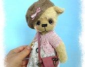 Adelyn 8 viscose artist handmade teddy bear by HappyTeddy Aleksandra J.