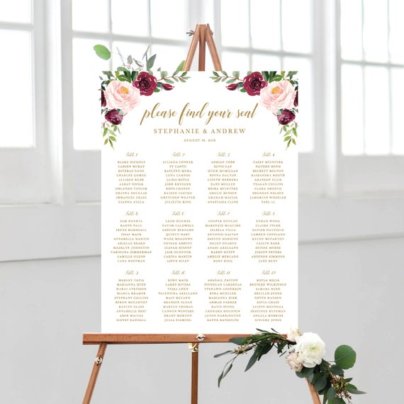 wedding seating chart template text fully editable blush and