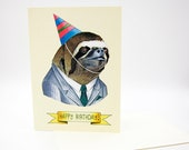 Happy Birthday Card - Party Sloth - Business Sloth - Berkley Illustration - Greeting Card - Ryan Berkley - Dapper Animals