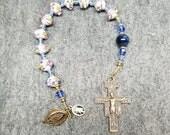 SALE St Francis Rosary Chaplet aka Tenner Blue Lampwork Glass Sacred Heart Divine Mercy Handmade HeartFelt Rosaries