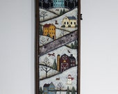 RESERVED FOR MARY F. Winter Folk Art Hand Painted Rustic Cabbage Shredder, Primitive Winter Landscape, Saltbox House, Snowman, Fox, Rabbits