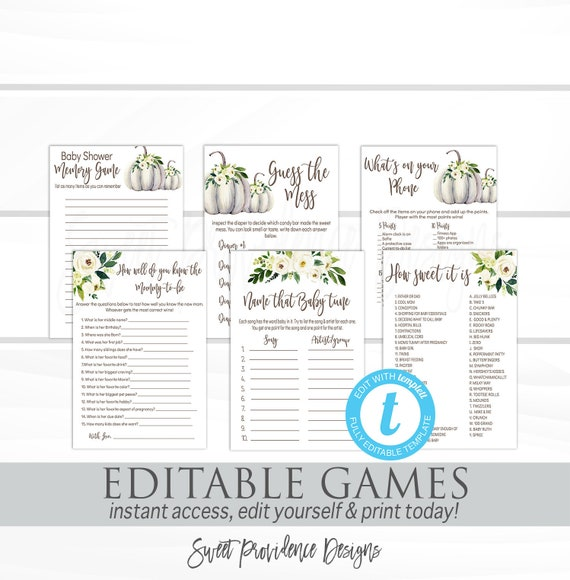 Baby Shower Games Template Pack Printable Greenery Floral Pumpkin