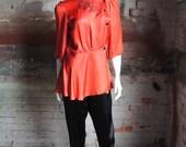 DRAGON EMBROIDERED Vintage 1940's Red Silk Satin Peplum Blouse Pajama Top w Cheongsam Collar & Peplum Skirt