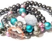 Grey Beaded Bracelets, Pink, Blue, Stretchy, OOAK Jewelry, Women, Custom Handmade Beaded Jewelry