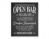 Open Bar Printable Wedding Sign, Chalkboard Style, Funny Bar Sign, #OP12C