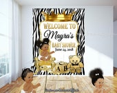 DIGITAL FILE Royal Zebra Baby Welcome Poster,Princess Baby Shower,  Royal Baby Shower Decor, A Prince is On It's Way