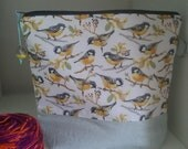 Small Squishy Great Tit zippered cotton project bag perfect for knitting socks or crocheting similar small projects.