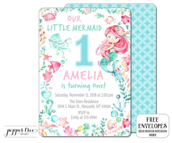 our little mermaid birthday invitation for girl with mermaid pink