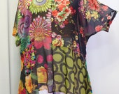 Plus Size Tunic, Lagenlook, Womens, Cold Shoulder, Black Green Pink Floral, Angled Tunic Top, Plus Size Top, One Size, Bust to 58 inches
