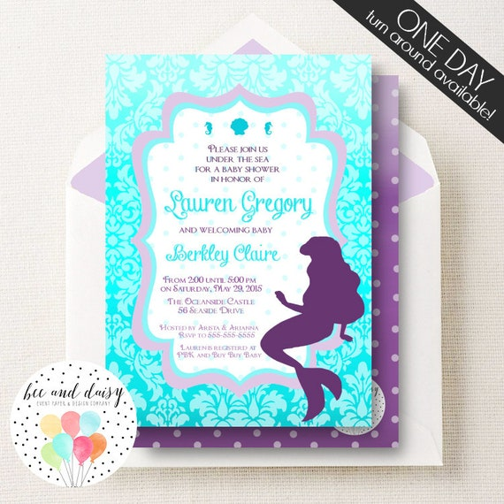 Little mermaid invitation for baby showers printable little mermaid il570xn filmwisefo