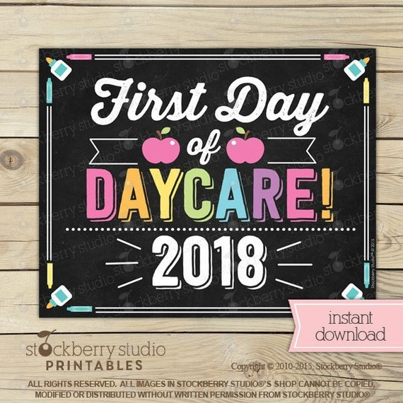 girl first day of daycare sign girl 1st day of daycare sign