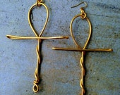 Large Ankh Earring in Silver or Gold Tone