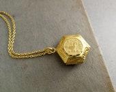Brass Hexagon Locket Necklace. Zodiac Locket Necklace. Gold Locket Keepsake. Hex Locket. Zodiac Locket Necklace. Keepsake Gift