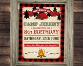 Camping Party Red Plaid Sign Poster - INSTANT Download - Editable & Printable Birthday Party Tent, Campfire, Wilderness, Rustic Decorations