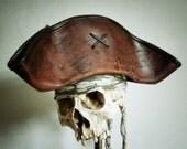 Leather Pirate Tricorn Hat