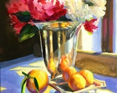 Original Painting of  BLOMME IN SILWER, art, oil on canvas, wall art, still life, painting of lemons,silver urn, kitchen art