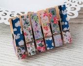 Mini Peg Magnets - Clouds Flowers - Vintage Floral - Small Clothespins - Magnetic Pegs - Fridge Magnet Set