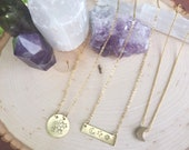Gold disc celestial moon + stars necklace