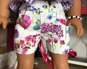 "18 inch , 18""  doll clothes - cute flowered shorts with front  pockets."