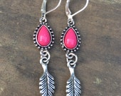Silver Leaf Earrings With A Pop Of Pink