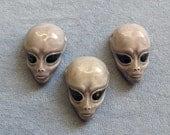 3 Pieces, Alien Face Pendant, Peruvian Ceramic, Roswell Alien