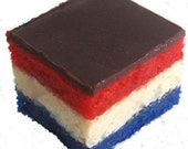 July 4th RED WHITE & BLUE 7 Layer Cookies 1lb. Boxed or Choose Gift Wrap at Checkout Great Gift!