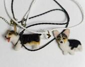Corgi pendant with 2 cords  and corgi pin