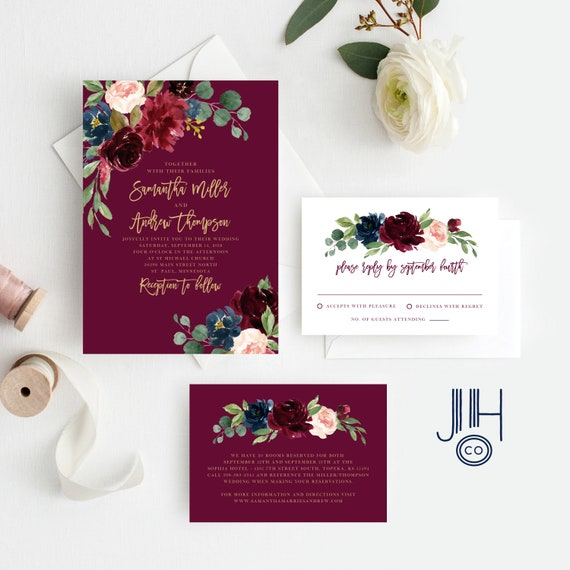 Marsala And Gold Wedding Invitation Template Burgundy And Pink