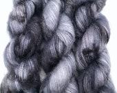 "Hand Dyed Yarn ""Selkie"" Grey Gunmetal Black Speckled Kid Mohair Silk Laceweight 465yds 50g"
