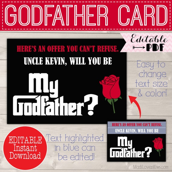 Will You Be My Godfather Card Ask Godfather Proposal Gift For