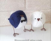 Wedding cake topper, birds in  dark navy blue and white