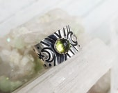 Green Tourmaline and Sterling Midi Ring with Crescent Moons Upper Knuckle