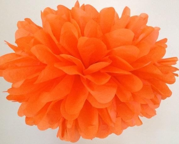 Bright orange tissue pompom halloween decorations pumpkin il570xn mightylinksfo