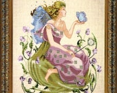 MIRABILiA Includes Beads Butterfly Fairy counted cross stitch patterns  at thecottageneedle.com garden