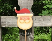 Santa Claus plant poke, Christmas decorations, wreath decorations, plant decorations, primitive home decor, hand painted wooden Santa, red