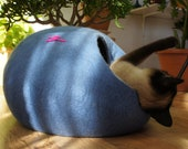 Cat bed, house, cave. Size L. From natural felted wool. Color sky blue. Made by kivikis.