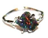 Black Opal Ring Raw Opal Ring Raw Opal Twig Ring Raw Stone Ring Green Fire Opal Jewelry Raw Black Opal Free Form Raw Opal Jewelry