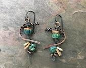 Hand Forged Earrings, Copper Earrings, Ancient Glass, Boho Jewelry, Unusual Earrings, Short Artisan Earrings, Rustic Earrings, Bohemian