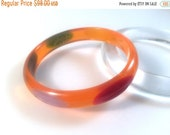 Vintage Bakelite Bracelet - Jesse Fowler Original Carved Laminate Dot Tangerine Prystal Polished Bangle 7/16""