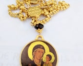 Necklace - Ave Maria ICON - Geuine Garnet + 18.5 Inch 18K Gold Plated Parisian Chain
