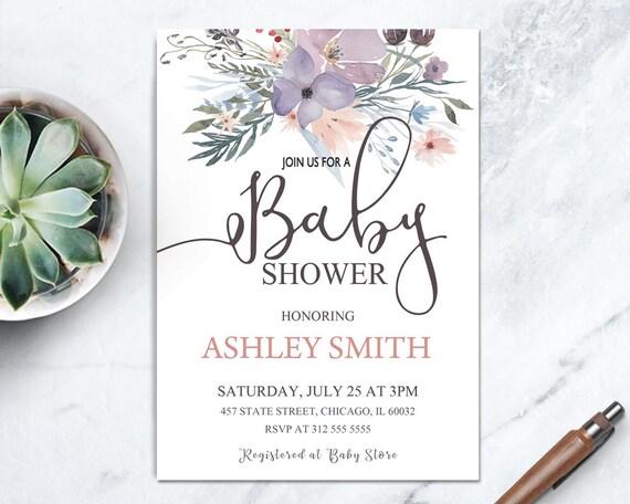 Baby girl boho shower printable invite boho floral baby shower il570xn filmwisefo