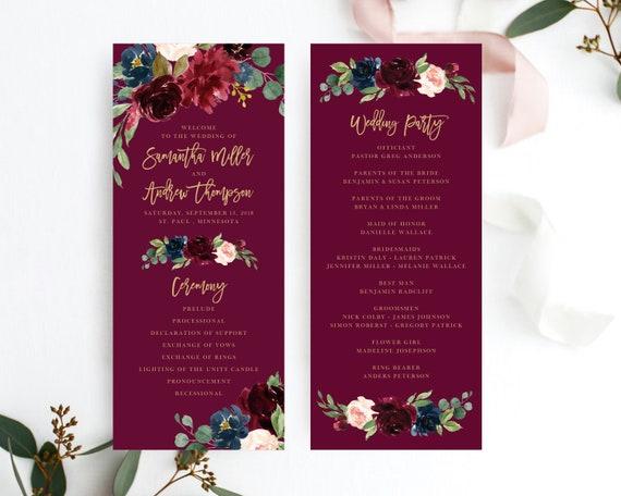 wedding program template marsala burgundy wedding programs template