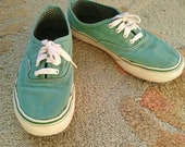 90s VAN sneakers / AQUA blue green canvas sneakers / KIDs 4 (womens 6)