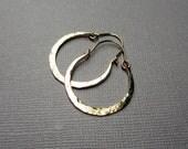Crescent Shape Gold filled Hammered Hoop Earrings, Gold Fill Hoop Earrings, Hinged Hoops, Artisan Jewelry, Gold Hoops, Horseshoe Hoops