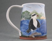 RESERVED FOR TORRI Ceramic Handmade Mug with Osprey and Sheep on the River