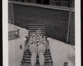 Vintage Photo Older Woman in Swimsuit Laying Out by Pool 1970's, Original Found Photo, Vernacular Photography