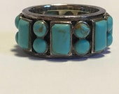 ON SALE Turquoise Sterling Ring Band Sz 7.5 Silver 925 Band Vintage Southwestern Jewelry Birthday Anniversary Mother's Gift Boho Spinner Pro