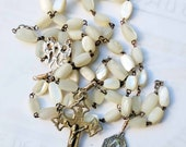 Rosary - Antique French Mother of Pearl Rosary French Silver & Mary of Magdala Sterling Silver