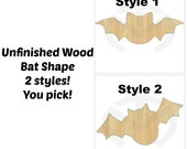 Unfinished Wood Bat Laser Cutout, Wreath Accent, Door Hanger, Ready to Paint & Personalize, Various Shapes and Sizes, Halloween